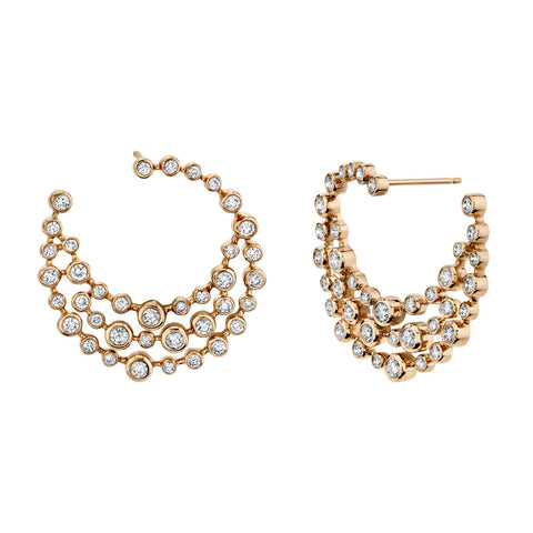 DOT-DASH GEMSTONE & DIAMOND HOOPS