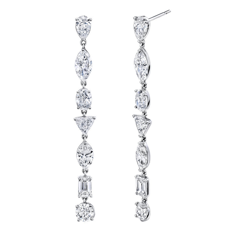 MIXED DIAMOND DROP EARRINGS, 14CTS