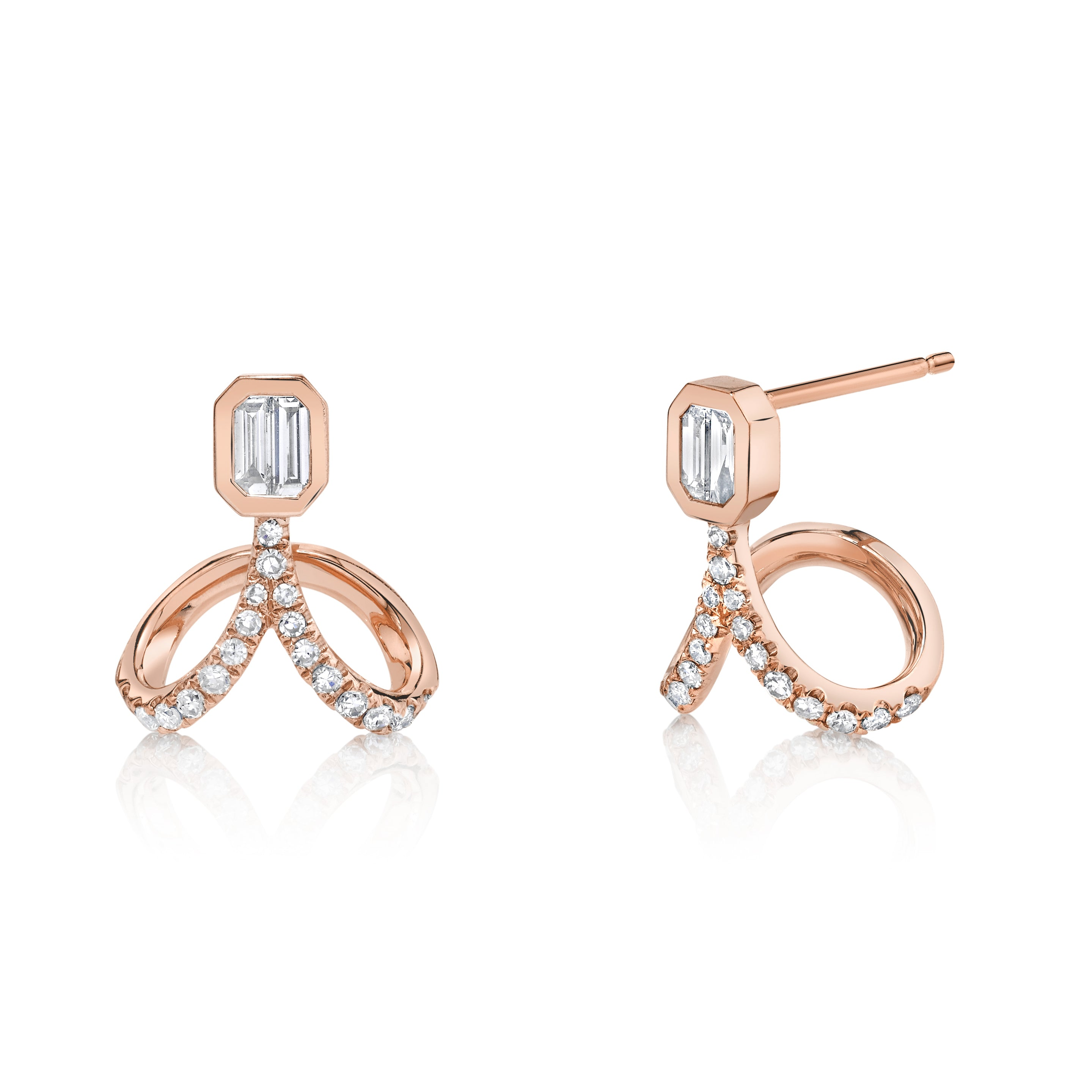 DIAMOND UPSIDE DOWN DROP STUDS