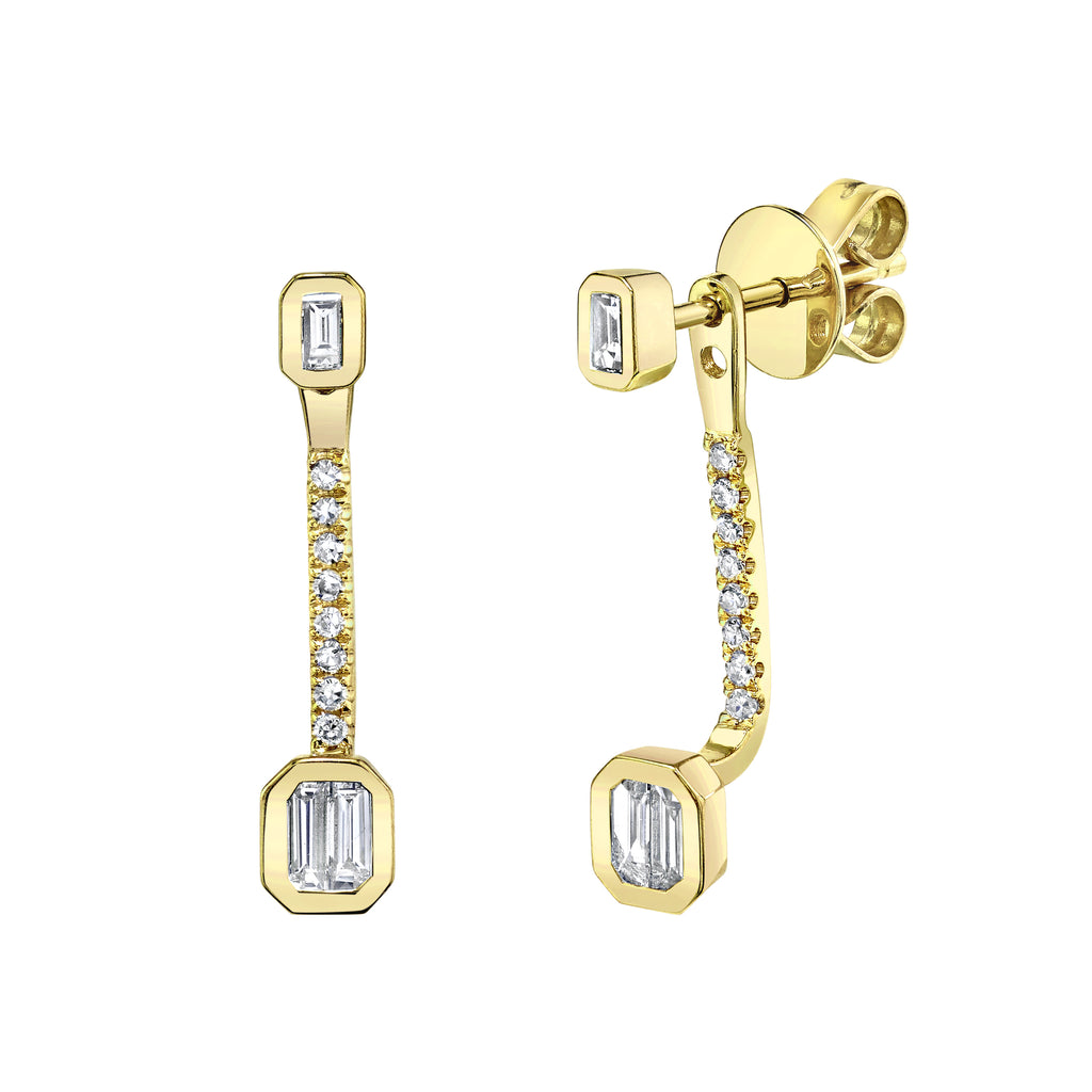 DIAMOND BAGUETTE PUNCH PAVE EAR JACKETS