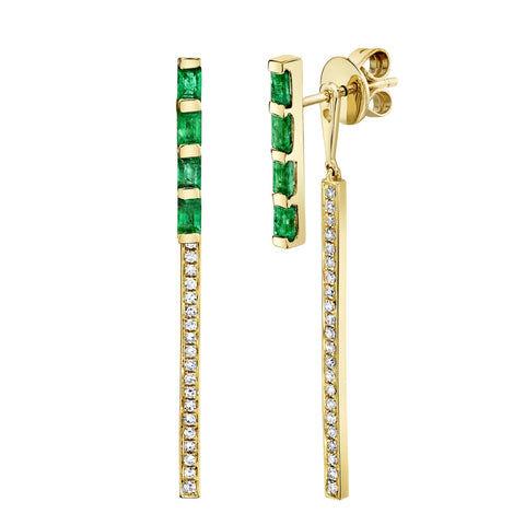 RAINBOW EMERALD CUT HOOPS