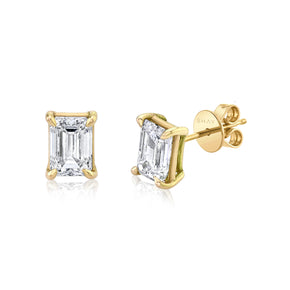 DIAMOND EMERALD CUT STUDS