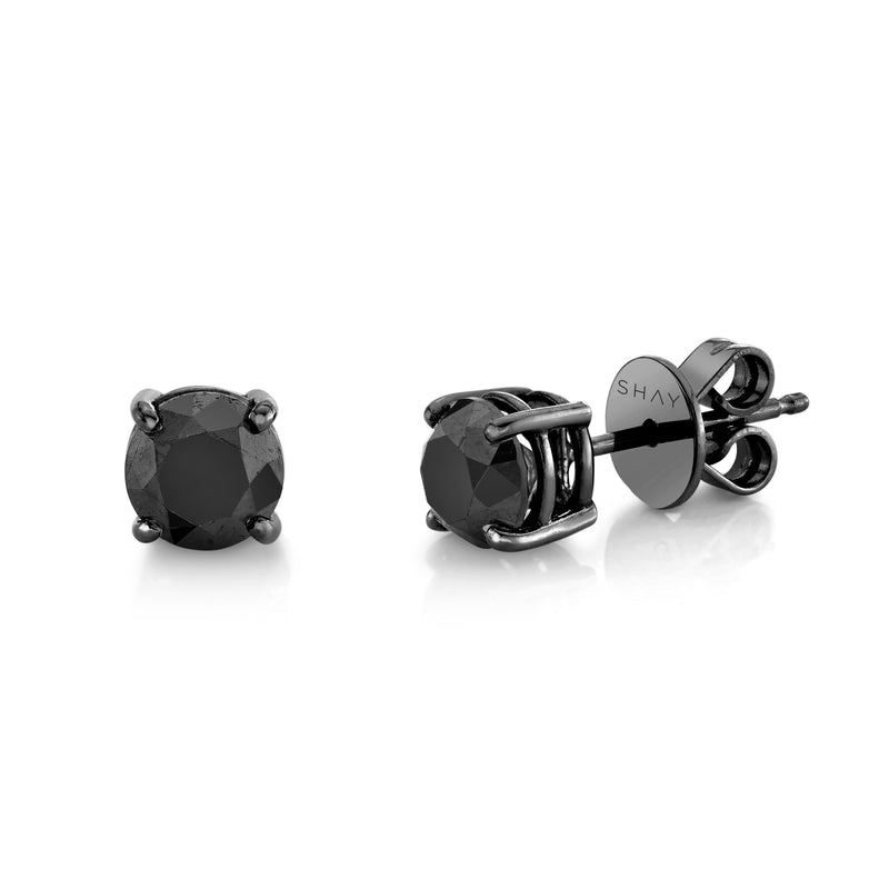 BLACK DIAMOND ROUND STUDS