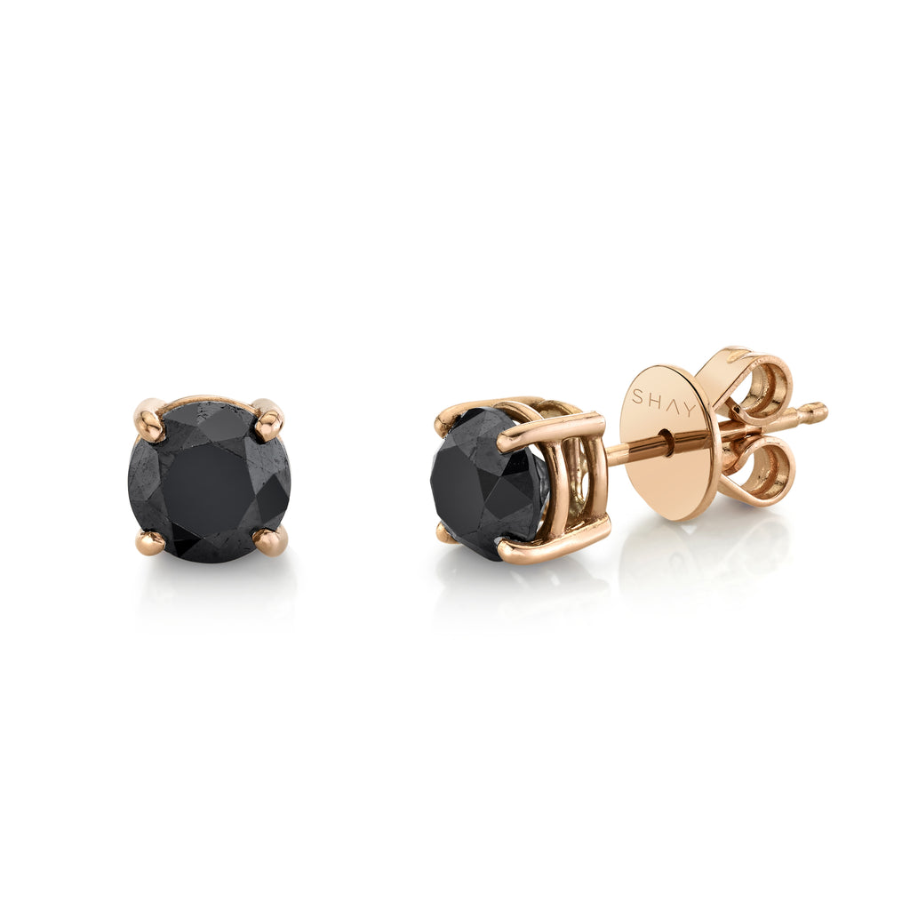 READY TO SHIP BLACK DIAMOND ROUND STUDS