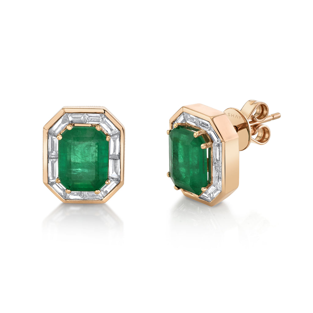 READY TO SHIP EMERALD HALO STUDS