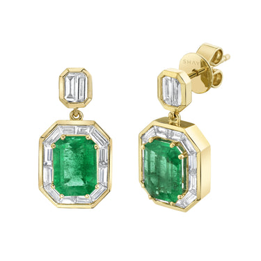 EMERALD HALO DROP EARRINGS