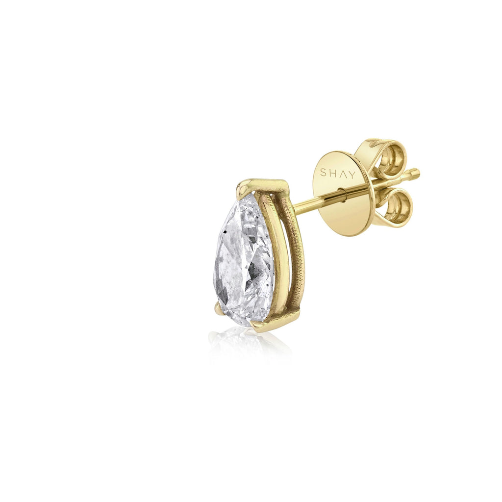 SINGLE  LARGE DIAMOND PEAR SOLITAIRE STUD