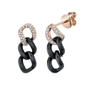 READY TO SHIP BLACK CERAMIC PAVE TRIPLE LINK EARRINGS