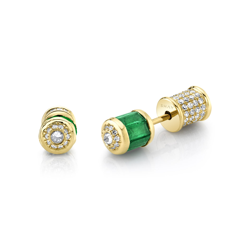 READY TO SHIP EMERALD & DIAMOND BULLET STUDS