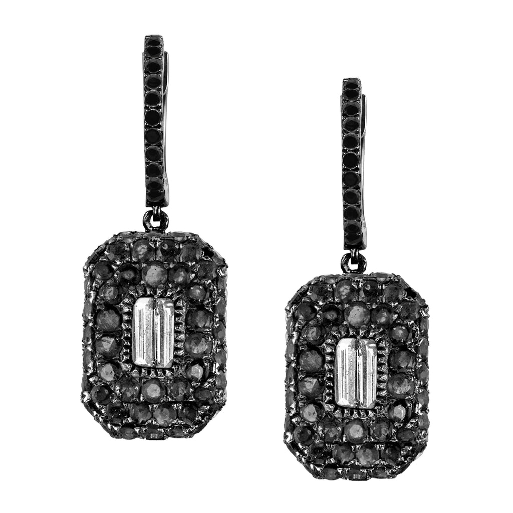 PAVE BLACK DIAMOND BAGUETTE DROP EARRINGS