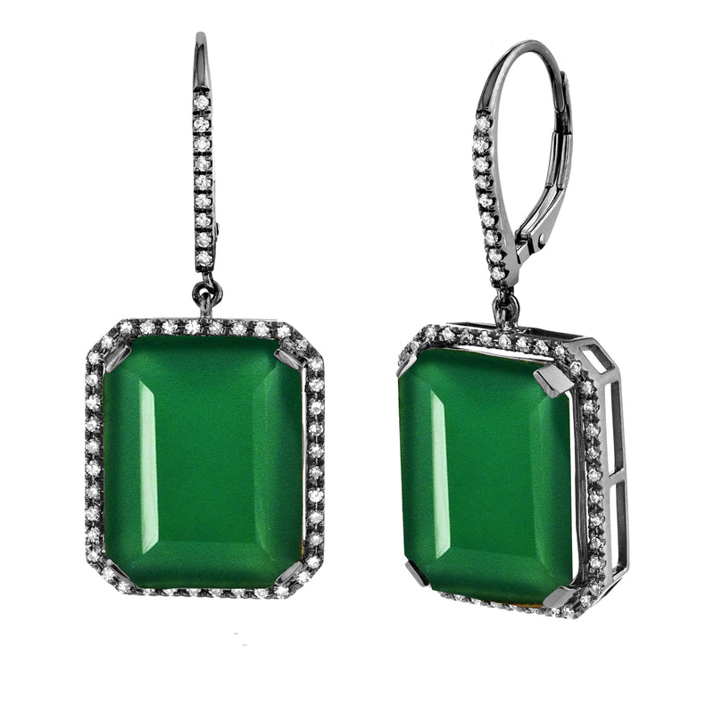 GREEN ONYX PORTRAIT EARRINGS