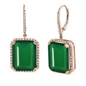 READY TO SHIP GREEN ONYX PORTRAIT EARRINGS