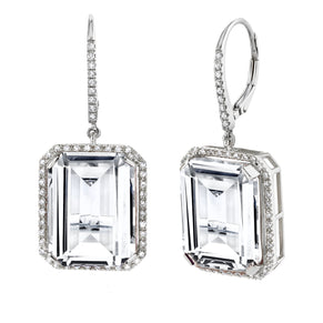 READY TO SHIP WHITE TOPAZ PORTRAIT EARRINGS