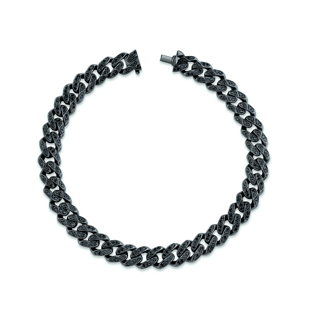 MEDIUM BLACK DIAMOND FLAT LINK BRACELET