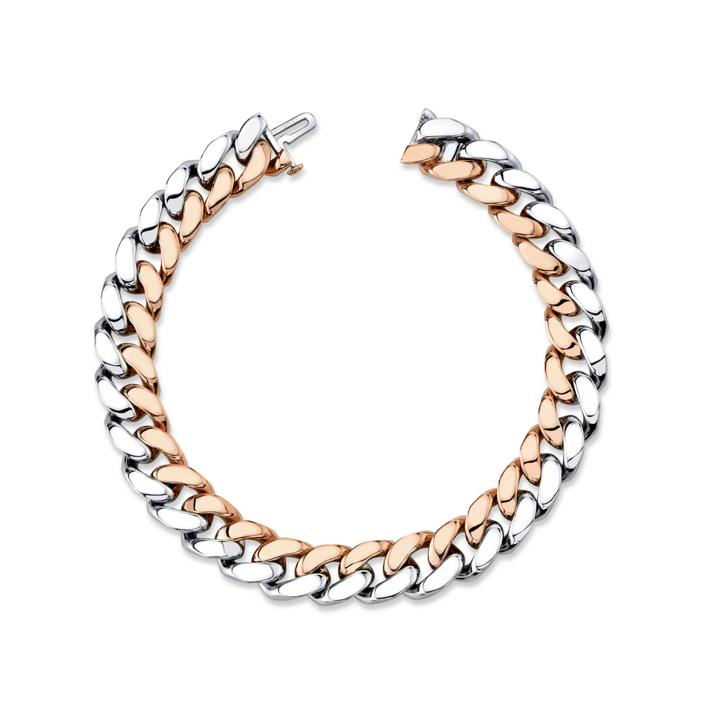 SOLID GOLD TWO TONE FLAT ESSENTIAL LINK BRACELET