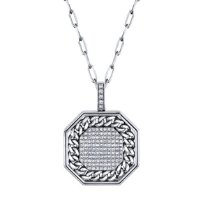 PAVE OCTAGON DISK LINK PENDANT