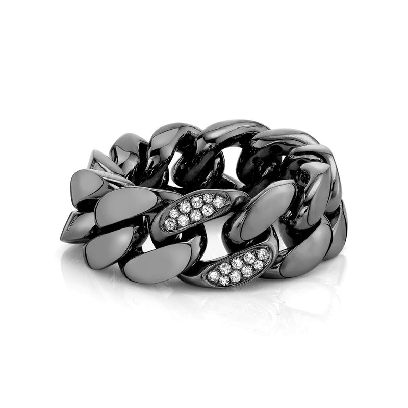 SINGLE PAVE FLAT LINK RING