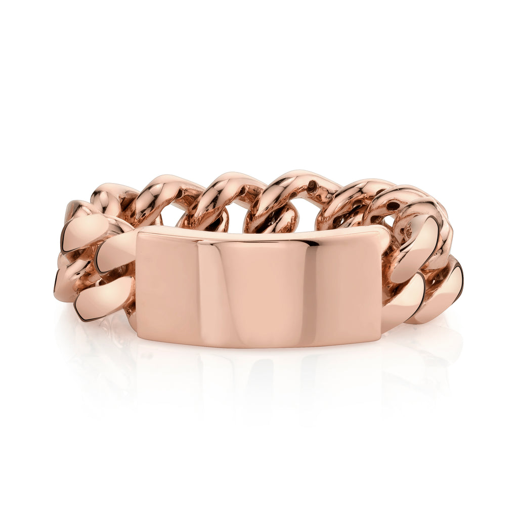 SOLID GOLD ID FLAT LINK RING