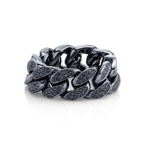 READY TO SHIP BLACK DIAMOND FLAT LINK RING