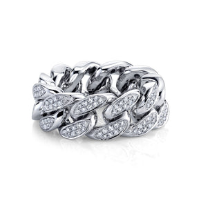 READY TO SHIP PARTIAL PAVE DIAMOND FLAT LINK RING