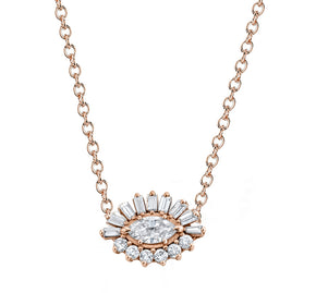 EVIL EYE BAGUETTE & MARQUISE DIAMOND NECKLACE