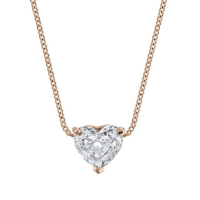 SOLITAIRE DIAMOND HEART NECKLACE
