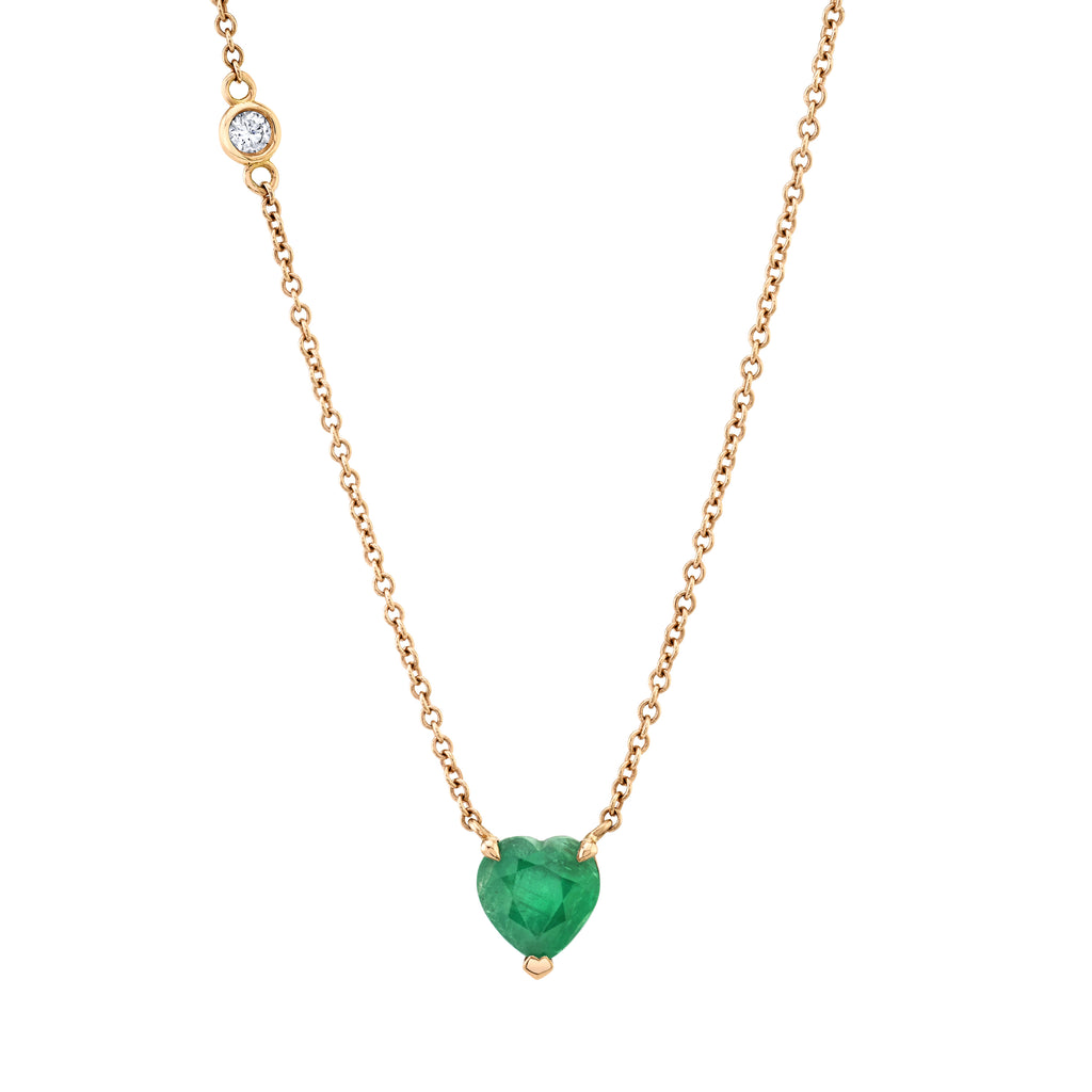 SOLITAIRE EMERALD HEART NECKLACE
