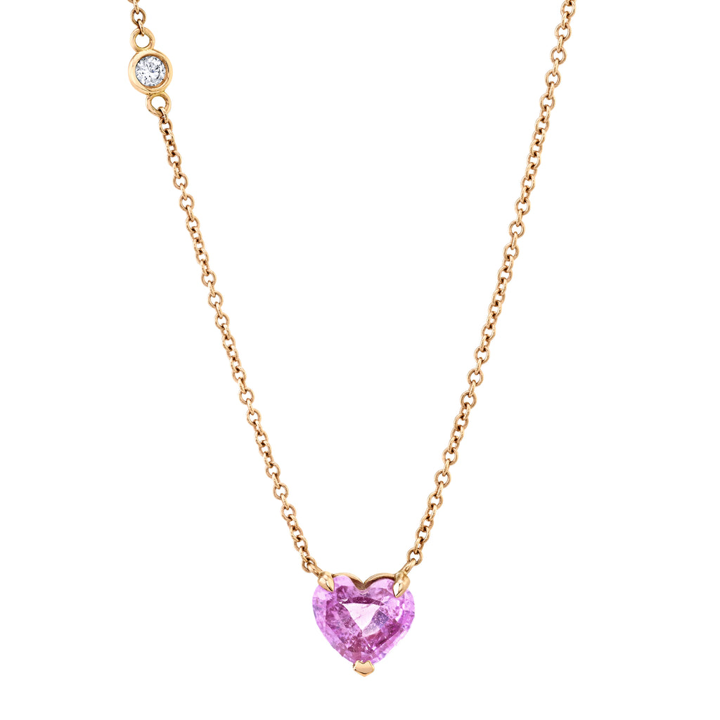 PINK SAPPHIRE SOLITAIRE HEART NECKLACE