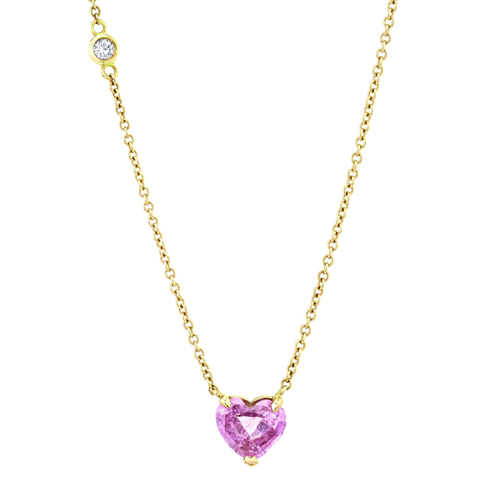 READY TO SHIP PINK SAPPHIRE SOLITAIRE HEART NECKLACE
