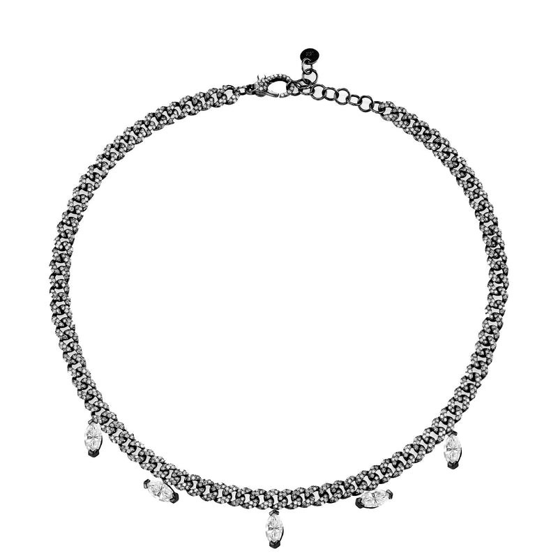 DIAMOND MARQUISE DROP LINK CHOKER