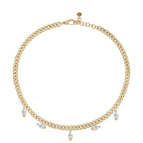 DIAMOND MARQUISE DROP MINI LINK CHOKER