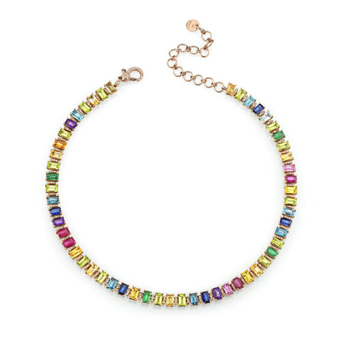 SPECKLED DIAMONDS DISK NECKLACE