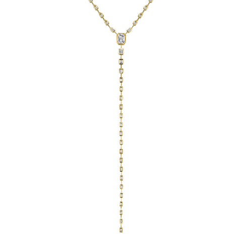 MIXED DIAMOND DOUBLE DROP ILLUSION Y NECKLACE