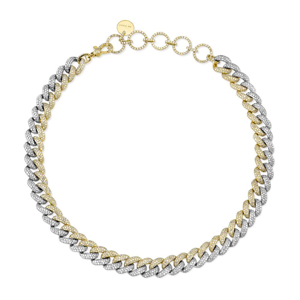 TWO-TONE ESSENTIAL PAVE LINK CHOKER