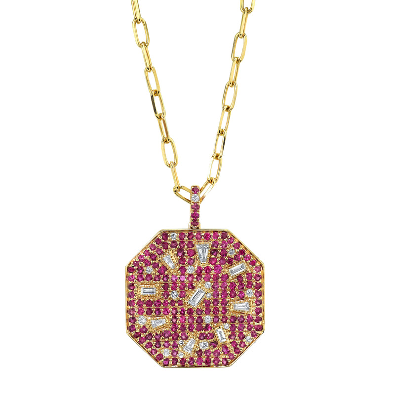 SPECKLED RUBY & DIAMOND DISK PENDANT