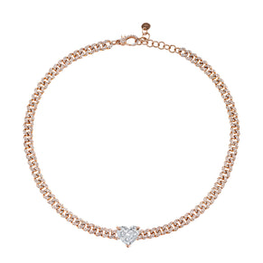 JUMBO DIAMOND HEART MINI PAVE LINK CHOKER