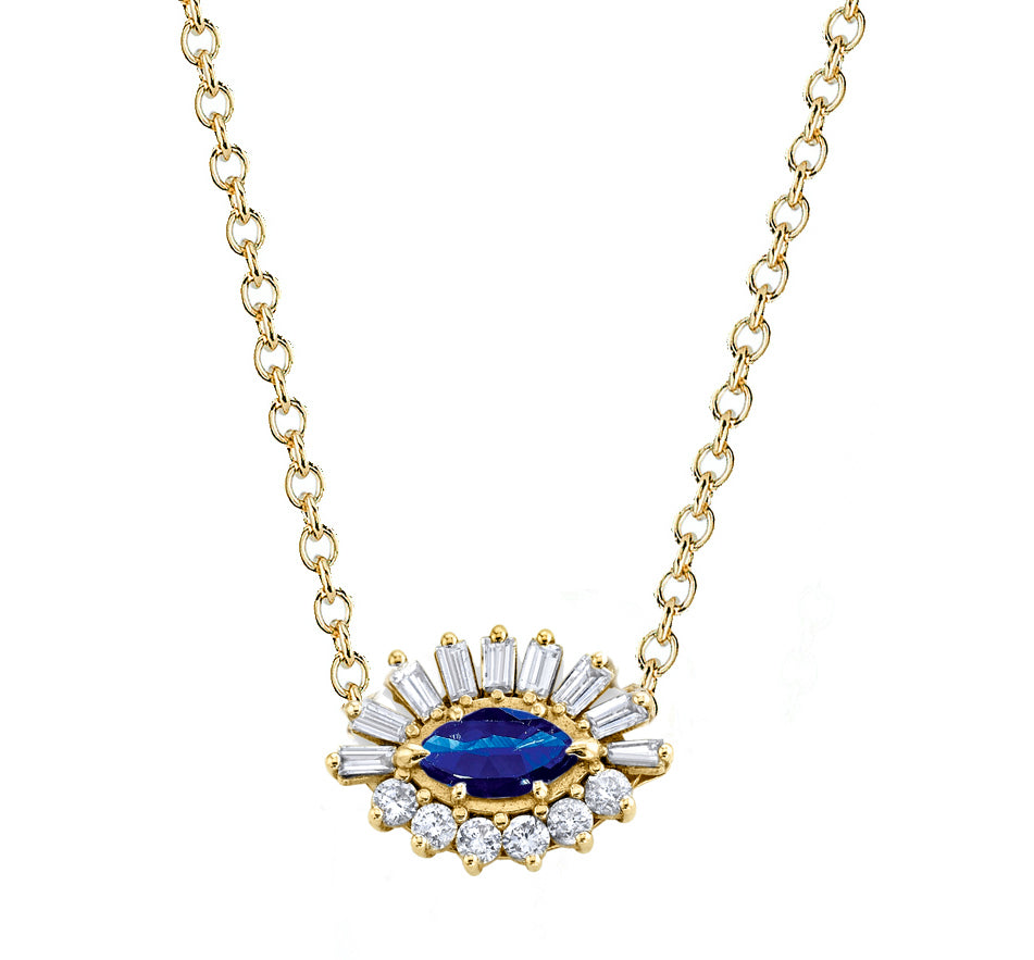 BLUE SAPPHIRE & DIAMOND EVIL EYE NECKLACE