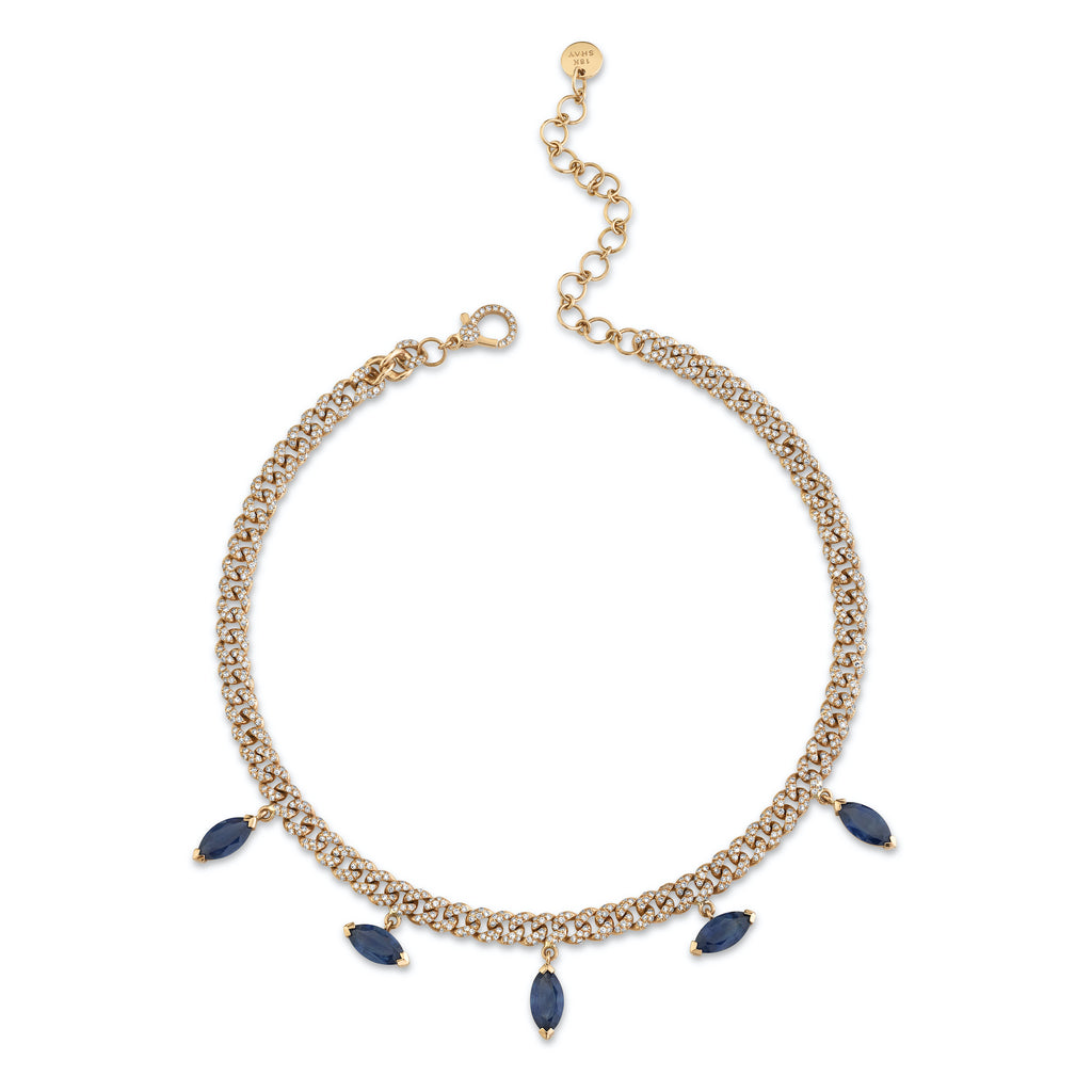 MARQUISE BLUE SAPPHIRE DROP LINK NECKLACE