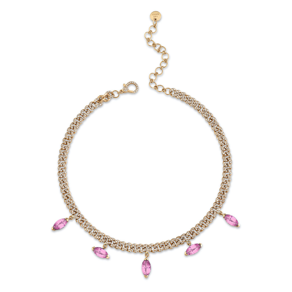 MARQUISE PINK SAPPHIRE DROP LINK NECKLACE