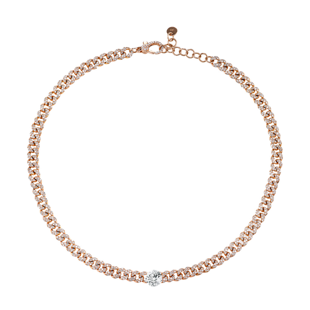 ROUND DIAMOND PAVE MINI LINK CHOKER