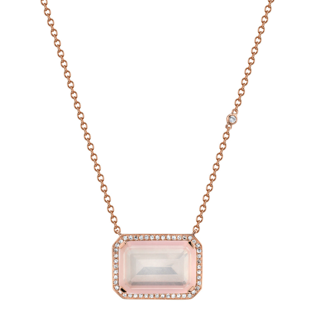 LIGHT PINK CRYSTAL PORTRAIT PENDANT NECKLACE