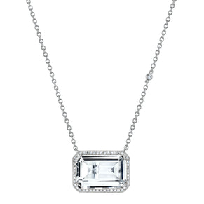 WHITE TOPAZ PORTRAIT PENDANT NECKLACE