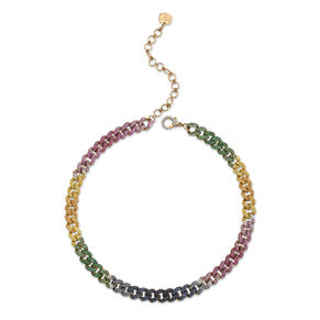 READY TO SHIP RAINBOW PAVE MEDIUM LINK NECKLACE