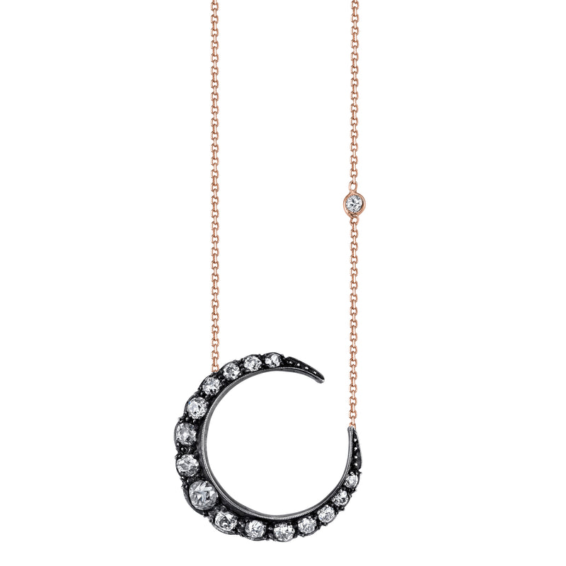 SINGLE ROW CRESCENT MOON NECKLACE