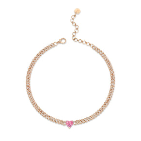PINK SAPPHIRE HEART MINI PAVE LINK NECKLACE