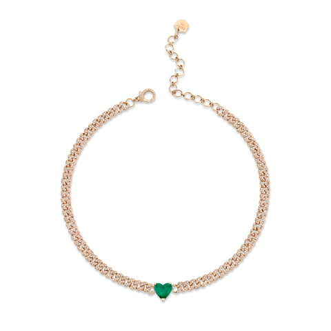 DIAMOND EMERALD LINK CHOKER