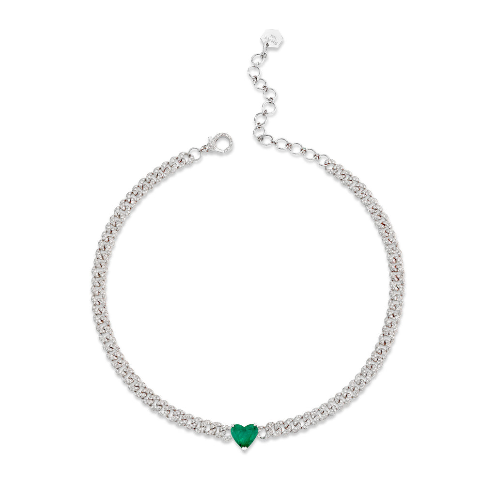 EMERALD HEART PAVE MINI LINK NECKLACE
