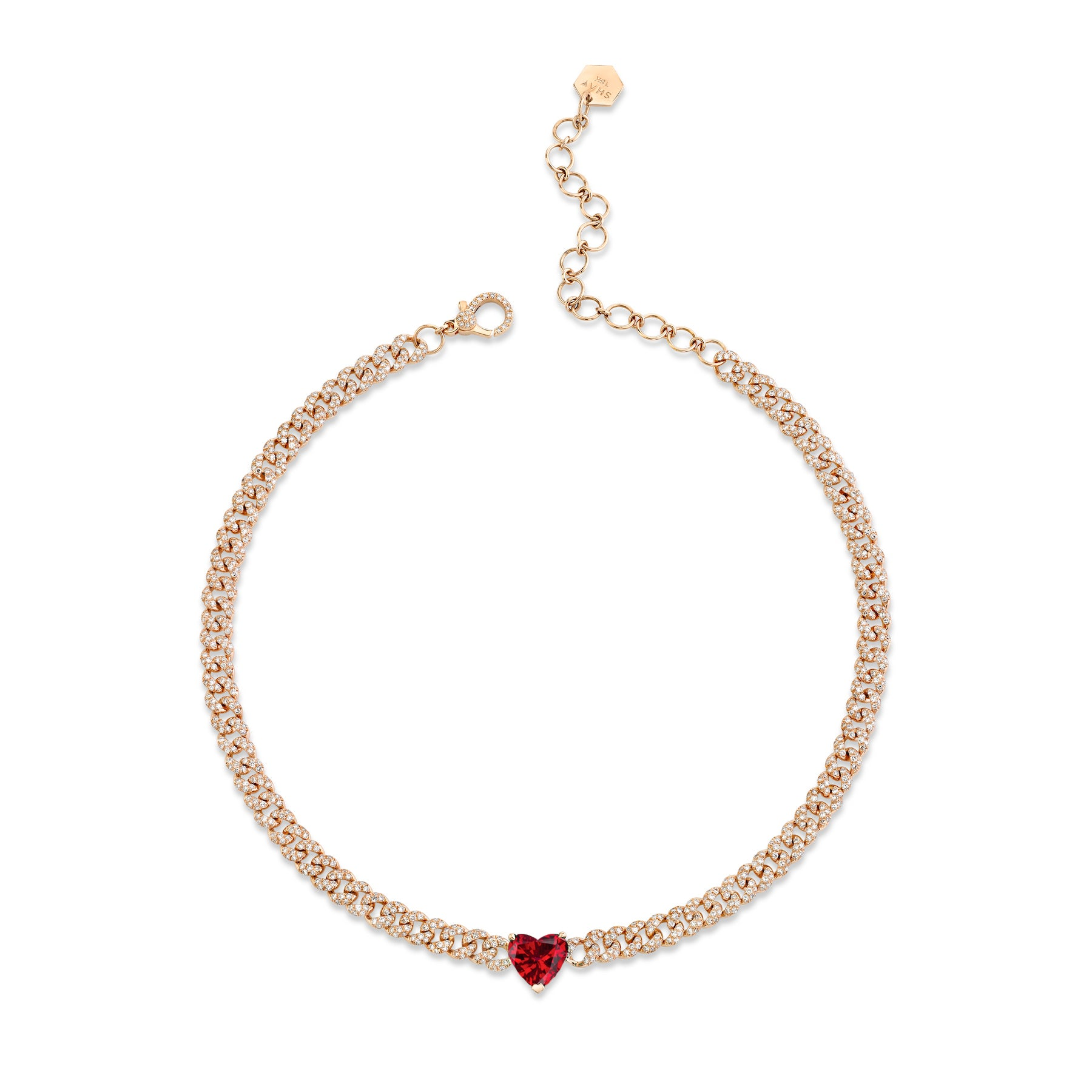 RUBY HEART MINI PAVE LINK NECKLACE