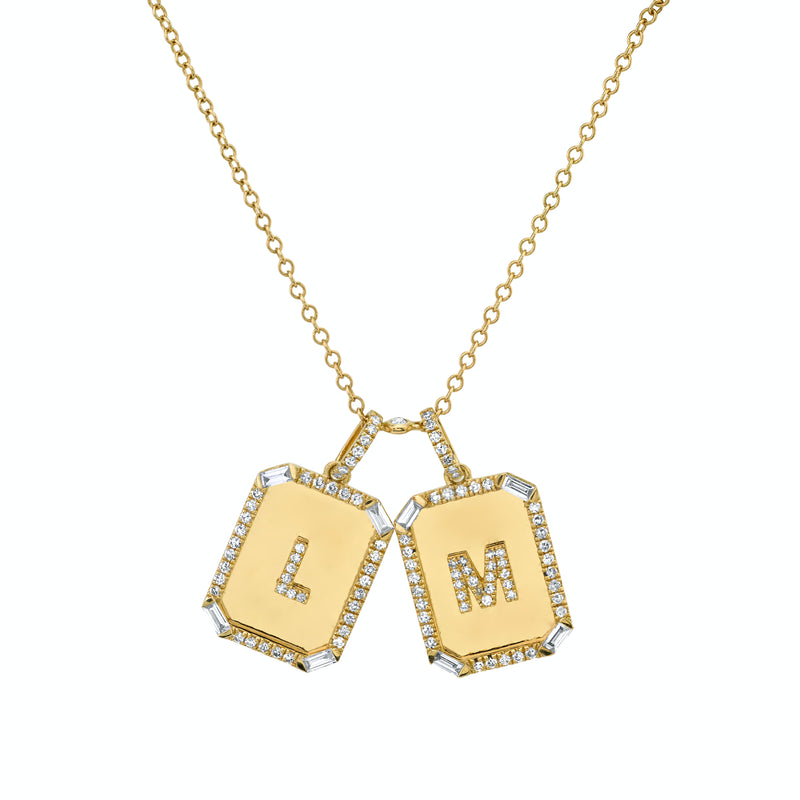 TWIN INITIAL MINI NAMEPLATE NECKLACE