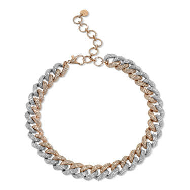 TWO-TONE FULL PAVE JUMBO LINK NECKLACE